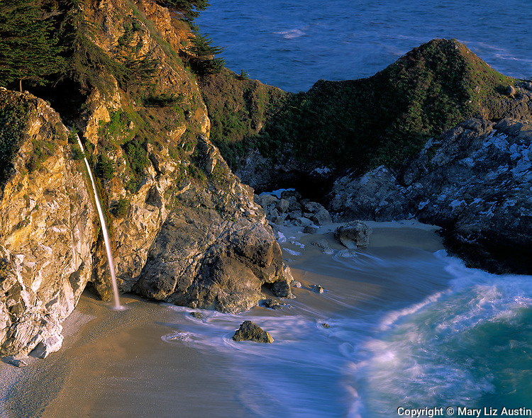 Monterey County, CA<br /> Waterfall at McWay Creek, Julia Pfeiffer Burns State Park on the coastline of Big Sur