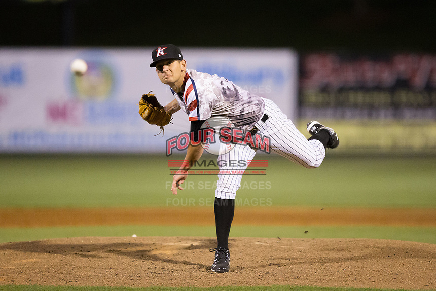 Kannapolis Intimidators relief pitcher Kyle Kubat (1) follows through on his delivery against the Lakewood BlueClaws at Kannapolis Intimidators Stadium on April 7, 2017 in Kannapolis, North Carolina.  The BlueClaws defeated the Intimidators 6-4.  (Brian Westerholt/Four Seam Images)