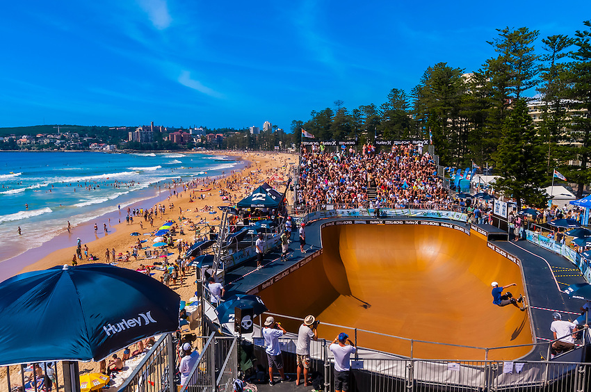 Professional Skateboarding Competitions At The Beach Bowl During The Australian Open Of Surfing At Manly Beach