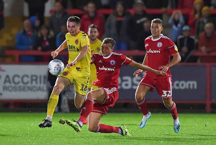 Fleetwood Town's Jordan Rossiter battles with Accrington Stanley's Ben Barclay<br /> <br /> Photographer Dave Howarth/CameraSport<br /> <br /> EFL Leasing.com Trophy - Northern Section - Group B - Tuesday 3rd September 2019 - Accrington Stanley v Fleetwood Town - Crown Ground - Accrington<br />  <br /> World Copyright © 2019 CameraSport. All rights reserved. 43 Linden Ave. Countesthorpe. Leicester. England. LE8 5PG - Tel: +44 (0) 116 277 4147 - admin@camerasport.com - www.camerasport.com