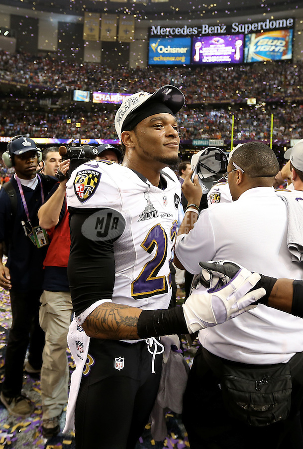 Feb 3, 2013; New Orleans, LA, USA; Baltimore Ravens cornerback Jimmy Smith celebrates after defeating the San Francisco 49ers in Super Bowl XLVII at the Mercedes-Benz Superdome. Mandatory Credit: Mark J. Rebilas-