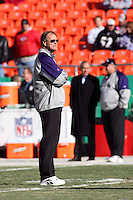 Ravens head coach Brian Billick watches his team warm up before the game with the Chiefs at Arrowhead Stadium in Kansas City, Missouri on December 10, 2006. Baltimore won 20-10.