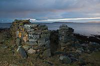 Ruins of Dereclict croft house near sea, Berneray, Western Isles, Scotland