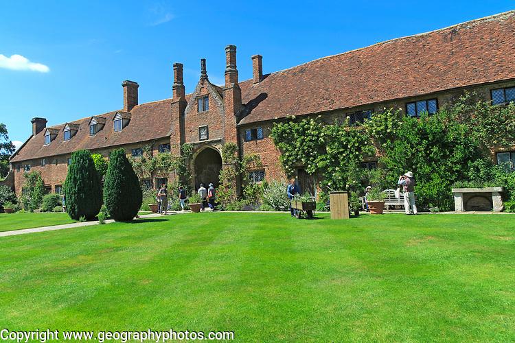 Lawn and house at Sissinghurst castle gardens, Kent, England, UK