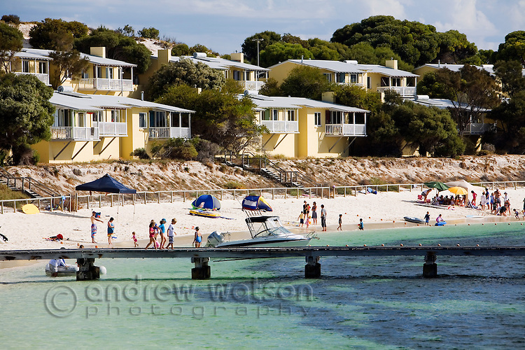 Holiday units line the seafront at Geordie Bay on Rottnest Island, Western Australia, AUSTRALIA.