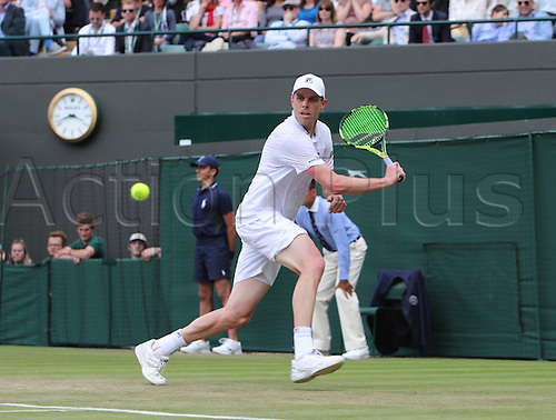 02.07.2016. All England Lawn Tennis and Croquet Club, London, England. The Wimbledon Tennis Championships Day Six.  Sam Querry (USA) hits a backhand during his rain delayed singles match against number 1 seed, Novak Djokovic (SRB).