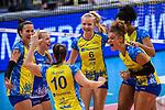 28.10.2018, TUI Arena, Hannover<br />Volleyball, Supercup, SSC Palmberg Schwerin vs. Dresdner SC<br /><br />Jubel Denise Hanke (#10 Schwerin), Mckenzie Adams (#13 Schwerin), Anna Pogany (#4 Schwerin), Jennifer Geerties (#6 Schwerin), Lauren Barfield (#12 Schwerin), Kimberly Drewniok (#8 Schwerin)<br /><br />  Foto © nordphoto / Kurth