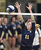 Isabella Imbo #11 of Bayport-Blue Point defends against a spike during her team's 3-1 win over Wheatley in the girls volleyball Class B Long Island Championship at Farmingdale State College on Sunday, Nov. 11, 2018.