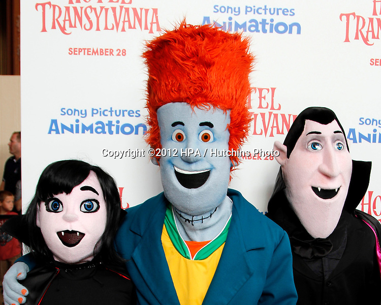 """LOS ANGELES - SEP 22:  Characters from movie Hotel Transylvania arrives at the """"Hotel Transylvania"""" Screening at Pacific Theaters at The Grove on September 22, 2012 in Los Angeles, CA"""