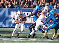 Annapolis, MD - December 28, 2017: Virginia Cavaliers running back Olamide Zaccheaus (4) runs the ball during the game between Virginia and Navy at  Navy-Marine Corps Memorial Stadium in Annapolis, MD.   (Photo by Elliott Brown/Media Images International)