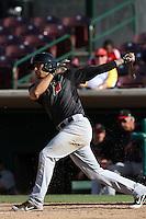 Stefan Romero #22 of the High Desert Mavericks bats against the Inland Empire 66'ers at San Manuel Stadium on April 29, 2012 in San Bernardino,California. Inland Empire defeated High Desert 3-0.(Larry Goren/Four Seam Images)