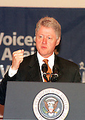 United States President Bill Clinton emphasizes a point during his speech to &quot;Voices Against Violence: A Congressional Teen Conference&quot; in Washington, DC on 19 October, 1999.<br /> Credit: Ron Sachs / CNP