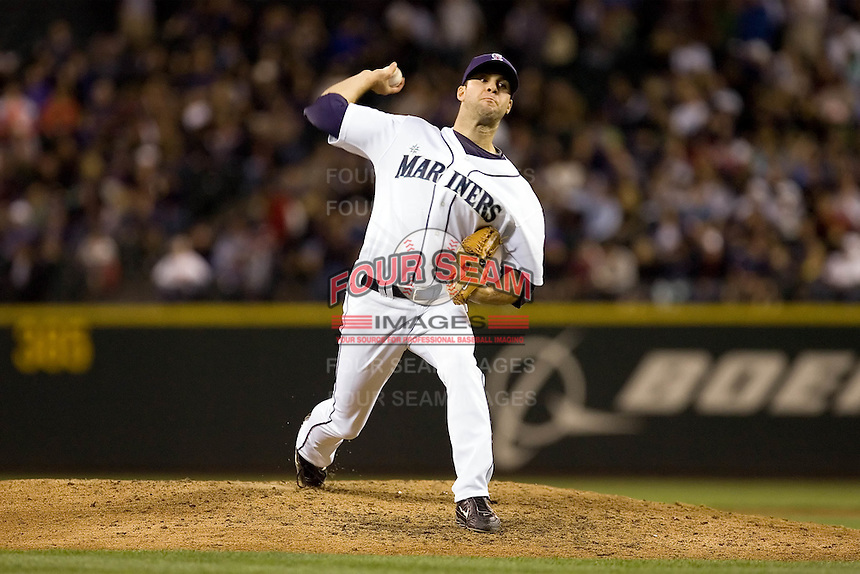 July 5, 2008:  The Seattle Mariners' Brandon Morrow notched his seventh save of the year with a perfect ninth inning against the Detroit Tigers at Safeco Field in Seattle, Washington.