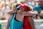 August 06, 2017: Madison Keys (USA) embraces CoCo Vandeweghe (USA) after Keys defeated Vandeweghe 7-6 (7-4), 6-4 at the Bank of the West Classic finals being played at the Taube Tennis Stadium in Stanford, California. ©Mal Taam/TennisClix/CSM