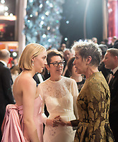 Oscar&reg; nominee Saoirse Ronan and Oscar&reg; winner Frances McDormand during the live ABC Telecast of The 90th Oscars&reg; at the Dolby&reg; Theatre in Hollywood, CA on Sunday, March 4, 2018.<br /> *Editorial Use Only*<br /> CAP/PLF/AMPAS<br /> Supplied by Capital Pictures