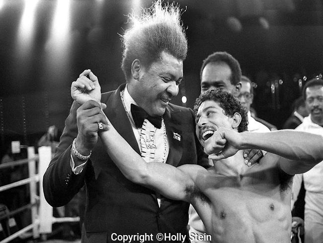 Don King with Wilfredo Gomez.  v. Juan Meza.  Gomez WTKO6.  WBC Super Bantamweight title.