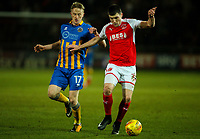 Fleetwood Town's Bobby Grant holds off the challenge from Shrewsbury Town's Luke Hendrie<br /> <br /> Photographer Alex Dodd/CameraSport<br /> <br /> The EFL Sky Bet League One - Fleetwood Town v Shrewsbury Town - Tuesday 13th February 2018 - Highbury Stadium - Fleetwood<br /> <br /> World Copyright &copy; 2018 CameraSport. All rights reserved. 43 Linden Ave. Countesthorpe. Leicester. England. LE8 5PG - Tel: +44 (0) 116 277 4147 - admin@camerasport.com - www.camerasport.com