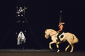 London, UK. 13 March 2016. Pictured: Bartabas. Dress rehearsal of Golgota by Bartabas. Acclaimed French equestrian theatre artist Bartabas returns to Sadler's Wells accompanied by contemporary flamenco dancer Andres Marin from Seville, four horses and a donkey to present the UK Premiere of Golgota from 14 to 21 March 2016. Photo: Bettina Strenske