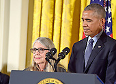 United States President Barack Obama presents the Presidential Medal of Freedom to mathematician and computer scientist Margaret H. Hamilton during a ceremony in the East Room of the White House in Washington, DC on Tuesday, November 22, 2016.  The Presidential Medal of Freedom is the Nation's highest civilian honor.<br /> Credit: Ron Sachs / CNP