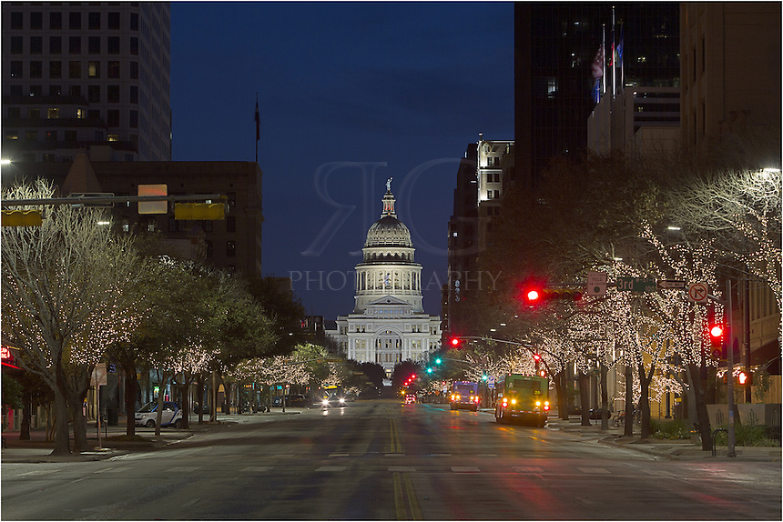 The Texas State Capitol sits on over 20 acres of pristinely manicured grass and trees. This view of the center of the state government looks north from Congress Avenue early one morning before traffic really gets going.