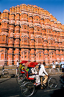India, Rajasthan, Jaipur: Facade of Hawa Mahal (Palace of the Winds)