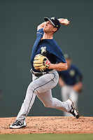 Starting pitcher Gary Cornish (23) of the Columbia Fireflies in a game against the Greenville Drive on Tuesday, June 13, 2017, at Fluor Field at the West End in Greenville, South Carolina. Greenville won, 5-4. (Tom Priddy/Four Seam Images)