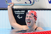 PICTURE BY ALEX BROADWAY /SWPIX.COM - 2012 London Paralympic Games - Day Three - Swimming - Aquatic Centre, Olympic Park, London, England - 01/09/12 - Natalie Jones of Great Britain reacts after the Women's 400m Freestyle S6 Heats.