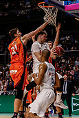 25th March 2018, Madrid, Spain; Endesa Basketball League, Real Madrid versus Valencia; Tibor Pleiss (Valencia Basket) blocks the attempted layup from Luka Doncic (Real Madrid Baloncesto)