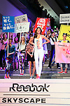 Australian model Miranda Kerr marches with other women at Omotesando Hills during the Reebok Skyscape March on April 15, 2015, Tokyo, Japan. Miranda Kerr is hugely popular in Japan and also a Reebok global ambassador for the new footwear line ''Skyscape''. (Photo by Rodrigo Reyes Marin/AFLO)
