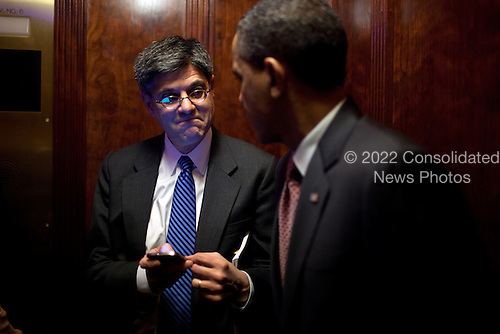 United States President Barack Obama talks with Chief of Staff Jack Lew during an elevator ride in the Eisenhower Executive Office Building after meeting with the Democratic Governors Association, February 24, 2012. .Mandatory Credit: Pete Souza - White House via CNP