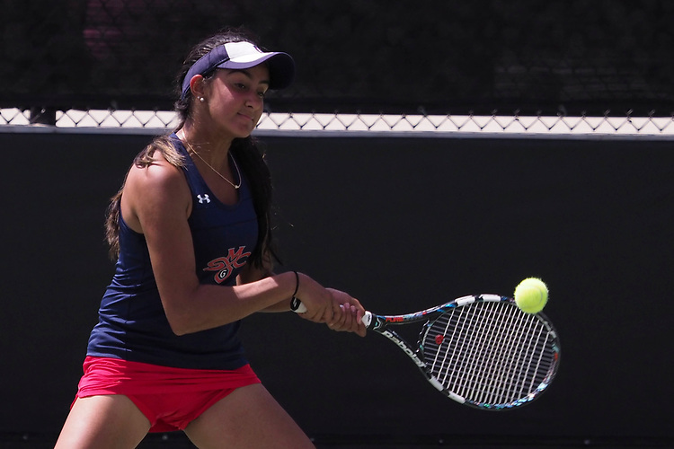 April 27, 2017; Claremont, CA, USA; Saint Mary's Gaels player Kareena Manji during the WCC Tennis Championships at Biszantz Family Tennis Center.