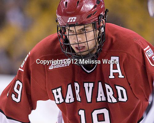 Alex Killorn (Harvard - 19) - The Harvard University Crimson defeated the Northeastern University Huskies 3-2 in the 2012 Beanpot consolation game on Monday, February 13, 2012, at TD Garden in Boston, Massachusetts.