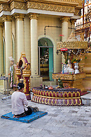 Myanmar, Burma, Yangon.  Sule Pagoda.  Woman Praying in front of Buddha Statue.