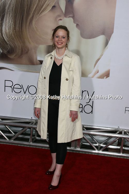 "Thora Birch  arriving at the World Premiere of ""Revolutionary Road"" at the Mann's Village Theater in Westwood, CA on December 15, 2008.©2008 Kathy Hutchins / Hutchins Photo..                ."