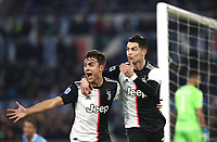 Football, Serie A: S.S. Lazio - Juventus Olympic stadium, Rome, December 7, 2019. <br /> Juventus' Cristiano Ronaldo (r) celebrates after scoring with his teammate Paulo Dybala (l) during the Italian Serie A football match between S.S. Lazio and Juventus at Rome's Olympic stadium, Rome on December 7, 2019.<br /> UPDATE IMAGES PRESS/Isabella Bonotto