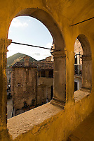 The view from one of the porticoed balconies in the historic village of Santo Stefano di Sessanio
