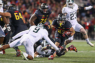 College Park, MD - October 22, 2016: Maryland Terrapins running back Lorenzo Harrison (23) runs the ball during game between Michigan St. and Maryland at  Capital One Field at Maryland Stadium in College Park, MD.  (Photo by Elliott Brown/Media Images International)