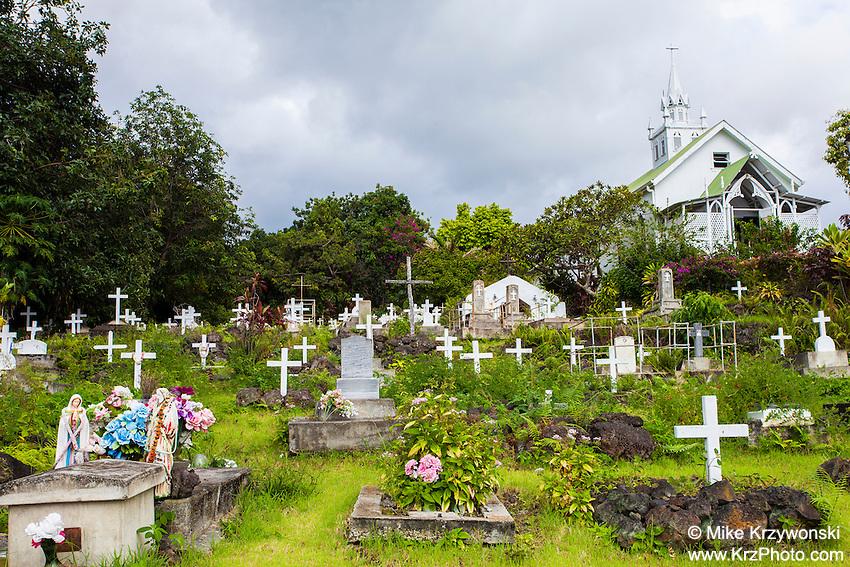 "Cemetery at St. Benedict Roman Catholic Church aka ""The Painted Church"", Captain Cook, Big Island, Hawaii"
