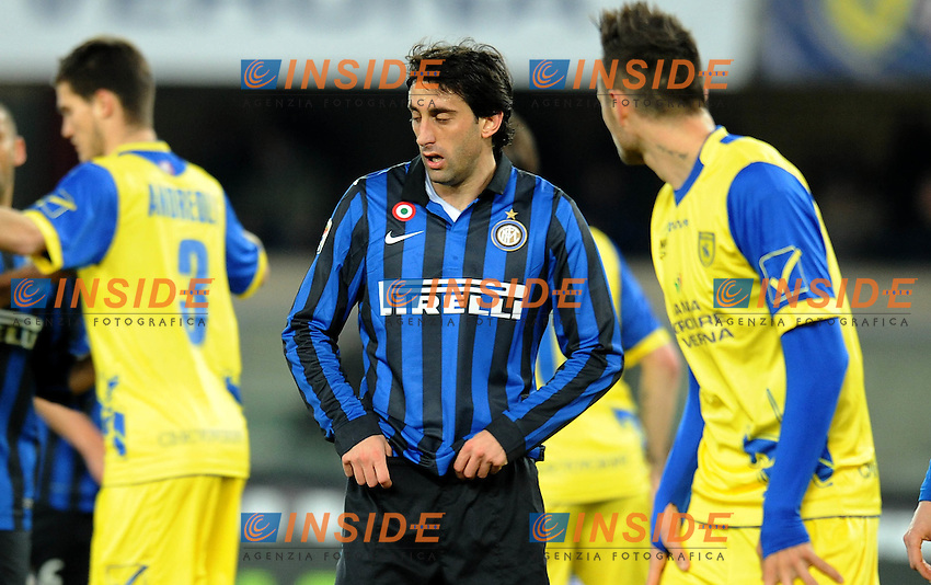 "Diego MILITO  (Inter).Verona 09/03/2012 Stadio ""Bentegodi"".Serie A 2011/2012.Football Calcio Chievo Verona Vs Inter.Foto Insidefoto Alessandro Sabattini."