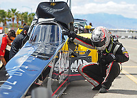 Apr. 1, 2012; Las Vegas, NV, USA: NHRA top fuel dragster driver Steve Torrence during the Summitracing.com Nationals at The Strip in Las Vegas. Mandatory Credit: Mark J. Rebilas-