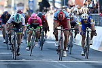 Marcel Kittel (GER) Team Katusha Alpecin outsprints World Champion Peter Sagan (SVK) Bora-Hansgrohe and Maximiliano Richeze (ARG) Quick-Step Floors to win Stage 6 of the 53rd edition of the Tirreno-Adriatico 2018 running 153km from Numana to Fano, Italy. 12th March 2018.<br /> Picture: LaPresse/Fabio Ferrari | Cyclefile<br /> <br /> <br /> All photos usage must carry mandatory copyright credit (&copy; Cyclefile | LaPresse/Fabio Ferrari)