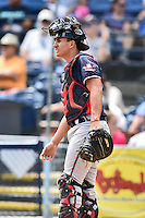 Rome Braves catcher Lucas Herbert (14) during a game against the Asheville Tourists at McCormick Field on August 21, 2016 in Asheville, North Carolina. The Braves defeated the Tourists 4-2. (Tony Farlow/Four Seam Images)