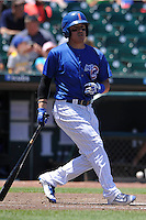 Iowa Cubs Logan Watkins (8) swings during the Pacific Coast League game against the Memphis Redbirds at Principal Park on June 7, 2016 in Des Moines, Iowa.  Iowa won 6-5.  (Dennis Hubbard/Four Seam Images)
