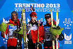 From left Germany's Johannes Wasel, Polish Adam Cieslar and Japan's Aguri Shimzucat the podium of the Nordic Combined NH / 10 km as part of the Winter Universiade Trentino 2013 on 13/12/2013 in Predazzo, Italy.<br /> <br /> &copy; Pierre Teyssot - www.pierreteyssot.com