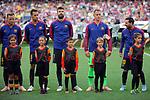 UEFA Champions League 2018/2019 - Matchday 1.<br /> FC Barcelona vs PSV Eindhoven: 4-0.<br /> Ivan Rakitic, Sergio Busquets, Gerard Pique, Marc-Andre ter Stegen &amp; Lionel Messi.