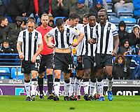 Alex Lacey of Gillingham middle is congratulated after scoring the second goal during Portsmouth vs Gillingham, Sky Bet EFL League 1 Football at Fratton Park on 6th October 2018