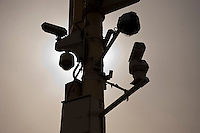 Daytime landscape view of a surveillance camera near the Zijin Cheng in Dongcheng, Beijing  © LAN