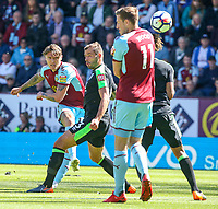 Burnley's Jeff Hendrick shoots at goal under pressure from Bournemouth's Steve Cook<br /> <br /> Photographer Alex Dodd/CameraSport<br /> <br /> The Premier League - Burnley v Bournemouth - Sunday 13th May 2018 - Turf Moor - Burnley<br /> <br /> World Copyright &copy; 2018 CameraSport. All rights reserved. 43 Linden Ave. Countesthorpe. Leicester. England. LE8 5PG - Tel: +44 (0) 116 277 4147 - admin@camerasport.com - www.camerasport.com