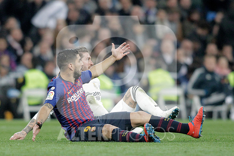 Real Madrid CF's Sergio Ramos and FC Barcelona's Luis Suarez during La Liga match. March 02,2019. (ALTERPHOTOS/Alconada)