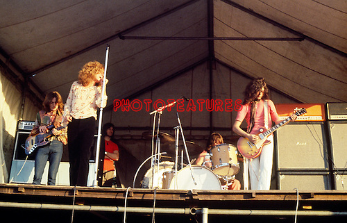 Led Zeppelin 1969 John Paul Jones, Robert Plant, John Bonham and Jimmy Page at Bath Festival.© Chris Walter.